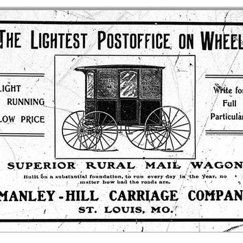 Post Office On Wheels Nostalgic Reproduction Sign 9″x12″