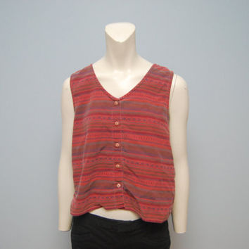 Vintage 1990's Painters Brand Aztec Patterned Tank Top Crop Top Size Medium Red with Southwestern Print Shirt Boho Hippie Grunge 90's