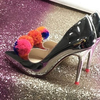Hot Patent Silver Leather Women Pom-Pom High Heel