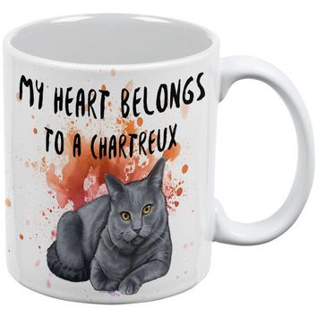 LMFCY8 My Heart Belongs Chartreux Cat White All Over Coffee Mug