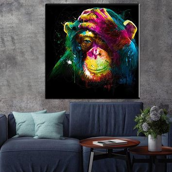 wall pictures oil painting print canvas top idea  decor wall art for wall painting no frame thinking monkey