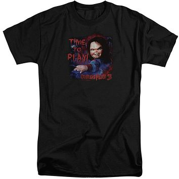 Childs Play Tall T-Shirt Chucky Time To Play Black Tee