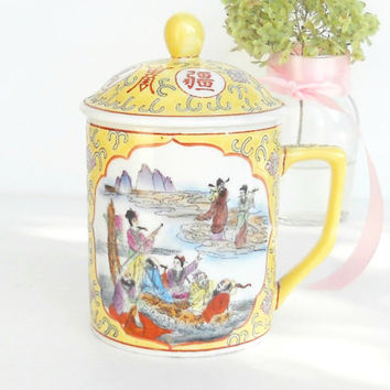 Asian Inspired Tea for One Covered Tea Cup, Lidded Tea Cup, Tea Party, Wedding, Housewarming Gift Inspired
