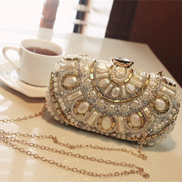 Beaded women vintage evening bags luxury women shoulder bags high quality diamonds clutch bag wedding purse free shipping