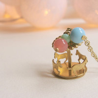 Carousel necklace with glass beads, fair style, romantic. Carrusel jewelry, pastel colours