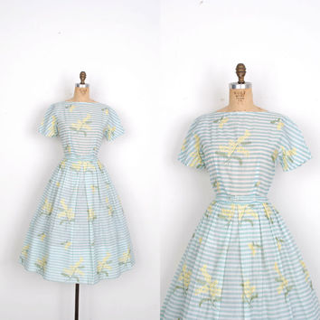 Vintage 1950s Dress / 50s Striped Dress with Floral Embroidery / Seafoam Green (S M)