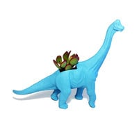 Up-cycled Turquoise Blue Apatosaurus Dinosaur Planter