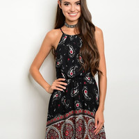 Boho Paisley Print Mini Dress