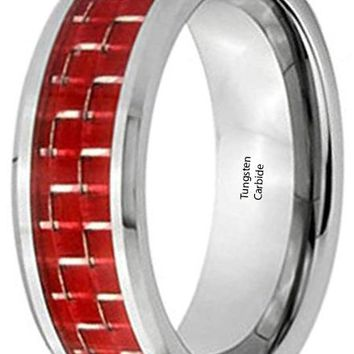 CERTIFIED 8mm Dark Red Carbon Fiber Inlay Silver Plated Tungsten Carbide Wedding Band Ring