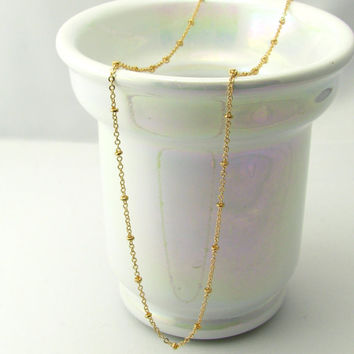 Dew Drops Necklace, 14k Gold Fill or Sterling Silver / Layering, Dainty Beaded Satellite Chain
