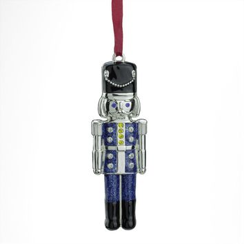 "3.75"" Regal Shiny Silver Plated Blue Nutcracker Ornament with European Crystals"