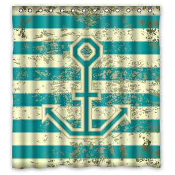 "66"" x 72"" Nautical Chevron Anchor Shower Curtain"