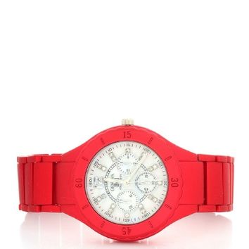 Red Michelle Rhinestone Fashion Watch | $12.50 | Cheap Trendy Watches Chic Discount Fashion for Wome
