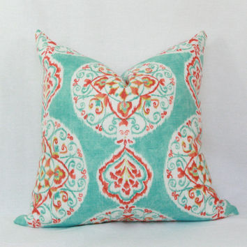 Aqua Red Orange Decorative Throw Pillow Cover 18 X Toss