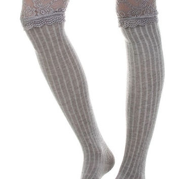 Wide Lace Trim Thigh High Socks - Gray, White or Black