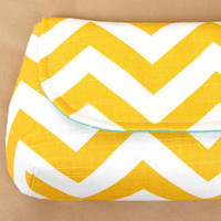 XL Classic Clutch Sweet Mustard Yellow with Teal by lenalimestudio