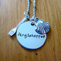 "Disney's ""Little Mermaid"" Inspired Necklace. Dinglehopper. Hand Stamped Charm Pendant, Silver colored, for women or girls"