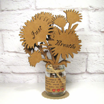 JUST BREATHE - Cute Inspirational Gift Idea Corrugated Cardboard Flowers Bouquet In Mini Mason Jar