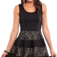 Homecoming Skater Dress with Lace Skirt and Keyhole Cutout
