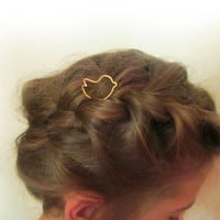 Bird Hair Stick / Cute Gold Hairpin / Hair Fork / Kids Hair Accessory / Hair Holder / Childrens Accessory / Christmas Gift / E701