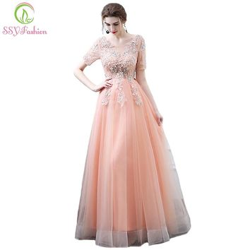 New Sweet Peach Color Lace Evening Dress The Bride Banquet Lace Flower Short Sleeved Long Party Gown