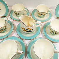 Viking Teacups Saucers and Creamer, Vintage International DS Golden Wheat, Aqua rim, gold trim