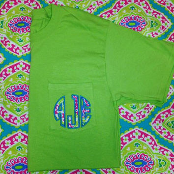 Lime green applique monogrammed pocket tee paisley monogrammed pocket tee Ladies monogrammed pocket tee