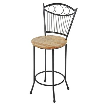 Joseph Allen French Country Style Handcrafted Reclaimed Wood/Wrought Iron Counter Stool