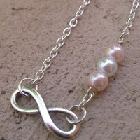 Good Karma- Infinity Necklace with Pearl Beads