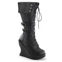 Black Knee High Cuffed Wedge Boots Faux Leather