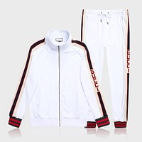 GUCCI tide brand men's fashion wild outdoor stand collar sports suit two-piece White