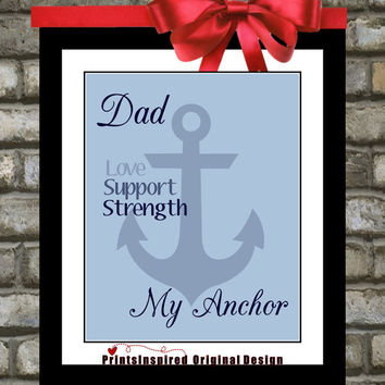 Fathers Day: Personalized Custom Anchor Art Print, Gifts For Dad Choose Colors Gift From Daughter Son To Dad Daddy Wall Art Home Decor