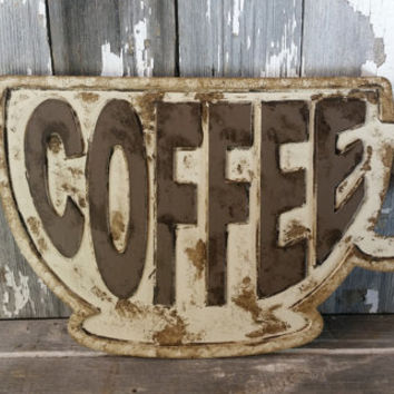 Coffee Sign coffee cup sign coffee mug sign vintage coffee sign kitchen sign coffee shop sign coffee cup wall art rustic coffee sign