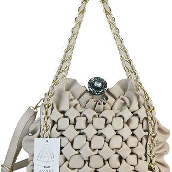 Avber Womens Fashion Pure Color Diamond Handbag Metal Chain Strap Shoulder Bag