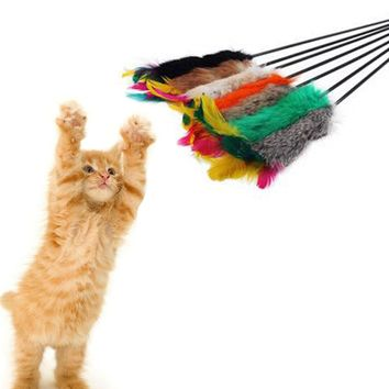 Colorful Pet Kitten Cat Toys Replacement Head Cat Teaser Wand Feather Ball Funny Cat Stick Feathers Rods Pet Interactive Toys