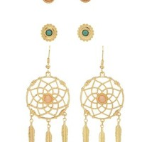 Gold Stud & Dreamcatcher Earrings by Charlotte Russe
