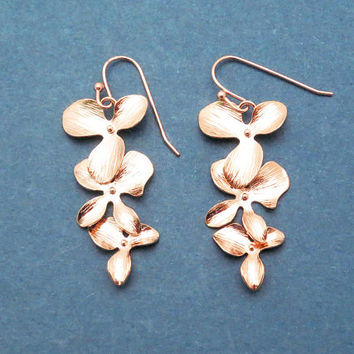 Orchid, Flower, Gold, Silver, Rose gold, Earrings, Birthday, Wedding, Best friends, Sister, Gift, Jewelry