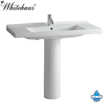 Whitehaus LU040-LU005 White Porcelain Rectangular Bathroom Pedestal Sink