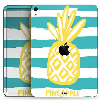 "Striped Mint and Gold Pineapple - Full Body Skin Decal for the Apple iPad Pro 12.9"", 11"", 10.5"", 9.7"", Air or Mini (All Models Available)"