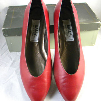 Vintage leather flats Authentic Bally of Switzerland 8.5N US - Red Leather