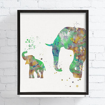 Mom and Baby Elephant, Baby Boy Nursery, Boys Room Decor, Nursery Art, African Animals, Safari Nursery, Watercolor Elephant, Kids Room Decor
