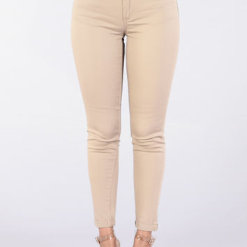 Work For It Twill Pants - Khaki