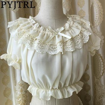 PYJTRL New Summer Women's Pink Beige Black Chiffon Crop Top Retro Vintage Sweet Lolita Ruffles Lace Sleeve Blouse Kimono Shirt
