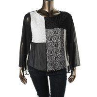 Style & Co. Womens Lace Back Panel Blouse