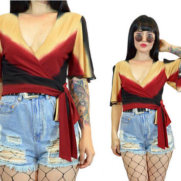 vintage 90s crop top deep v tie front BOW ombre minimalist wrapped top blouse boho hippie 1990s grunge small
