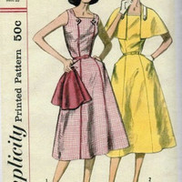 Simplicity 2042 Swing Style Rockabilly 1950s Full Skirt Dress Sleeveless Casual House Dress Gored Skirt Cape Bust 36 38