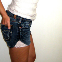 Dark Jean Cut Offs with Lace Sides, Silver Jeans 28, Raw Jean Shorts, Jean Shorts with White Lace, Cut Off Shorts, Low Waist Festival Shorts