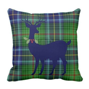 Xmas Deer w Holly Wreath, Green/Blue Tartan Plaid Pillows