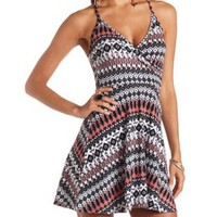 Tribal Print Racerback Surplice Skater Dress - Black Combo
