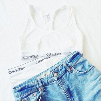 "Fashion ""Calvin Klein"" Tank Top Shorts Underwear Lingerie Set Bikini Swimwear White"